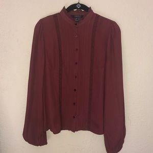 Women's Burgundy Long Sleeve Blouse Size S